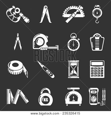 Measure Precision Icons Set Vector White Isolated On Grey Background
