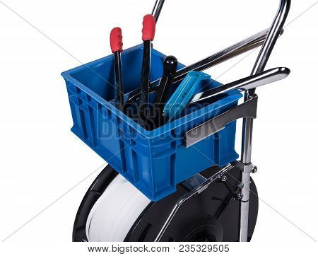 Set Of Industrial Strapping And Lashing Tools With Polyester Composite Strap.