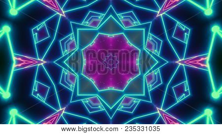 Disco Shows A Kaleidoscope Background - 3d Illustration Flight In A Retro 80s Tunnel