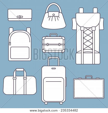 Different Types Of Bags, White Flat Vector Illustration With Outline, Collection And Set On Blue Bac