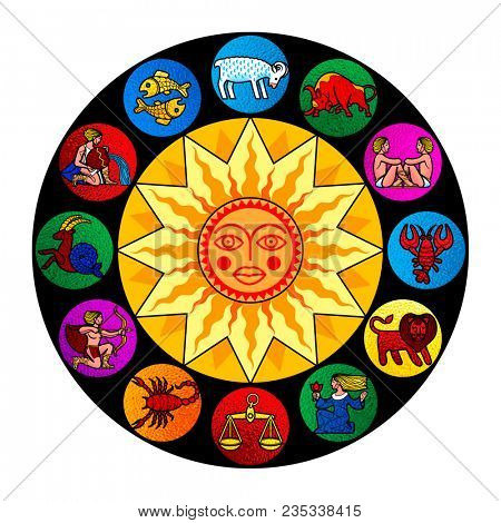 Zodiac circle with colorful signs and sun. Calendar cover design