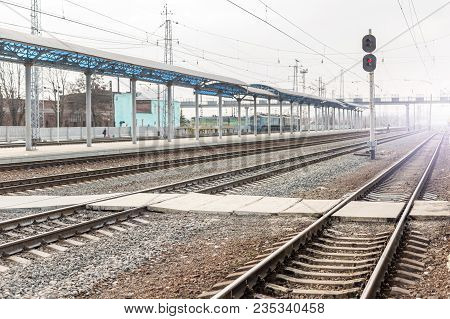Empty Railway Station. Railroad Transportation Desolation Concept.