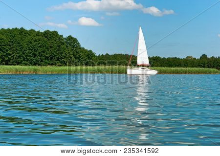 One Yacht On The Lake In Summer, Lonely White Yacht, One Yacht With White Sails