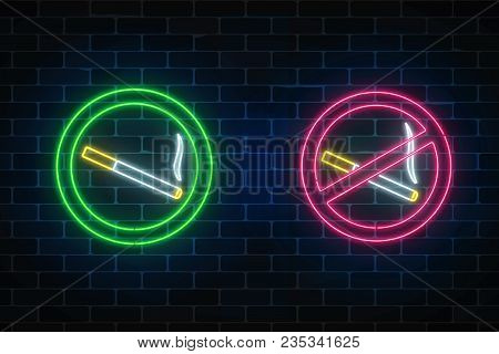 Glowing Neon Set Of No Smoking And Smoking Here Signs On Dark Brick Wall Of Nightclub Or Bar. Ban On