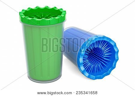 Dog Paw Cleaners, Paw Washers. 3d Rendering Isolated On White Background