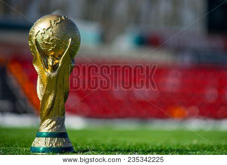 April 9, 2018 Moscow, Russia Trophy Of The Fifa World Cup And Official Ball Of Fifa World Cup 2018 A