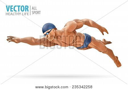 Fit Swimmer Training In The Swimming Pool. Professional Male Swimmer Inside Swimming Pool. Butterfly