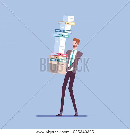 Businessman Carries Box With A Large Pile Of Documents And Shoulders With Papers That Are About To F