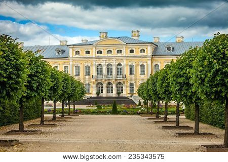 Rundale Palace Built In Baroque Style In Pilsrundale, Latvia