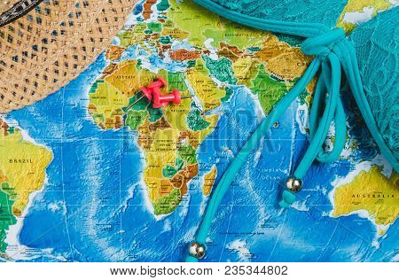 Travel destination points on world image photo bigstock travel destination points on world map indicated with colorful thumbtacks and shallow depth of field gumiabroncs Choice Image