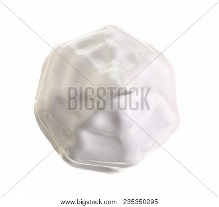 Whipped Cream Or Meringue Isolated On White Background. Top View. Flat Lay.