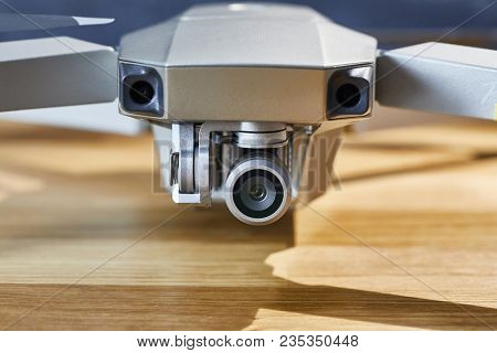 Drone camera on a gimbal stabilizer