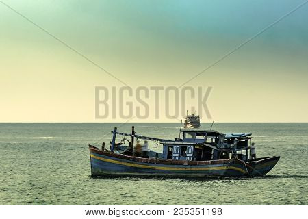 Gulf Of Thailand In The Vicinity Of The Island Koh Samui We See Small And Colorful Fishing Boats Fis