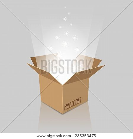 Surprise Box. Empty Magic Opened Box With Present For Birthday, Anniversary Or Holiday Party, Vector