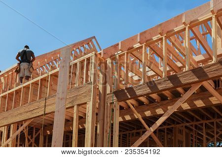 New House Framework Of House Under Construction Post And Beam Construction