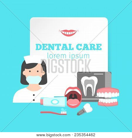 Poster With Icons Of Dental Clinic Services. Nformation Icons With Dental Clinic Services And Dentis