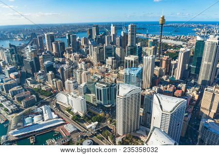 Aerial Cityscape Of Sydney Central Business District With Sydney Landmarks And Sydney Harbour. Sydne