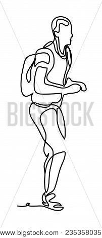 Man Tourist With Backpack. Continuous Line Drawing. Isolated On The White Background. Vector Monochr