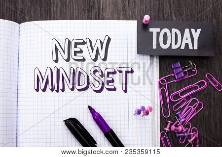 Handwriting Text New Mindset. Concept Meaning Attitude Latest Concept Vision Behaviour Plan Thinking