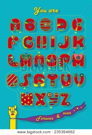 Artistic Alphabet With Encrypted Romantic Message You Are My Super Woman. Cartoon Red Letters With B