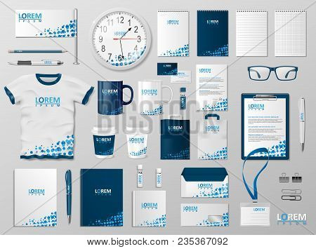 Corporate Branding Identity Template Design. Modern Stationery Mockup Blue Color. Business Style Sta