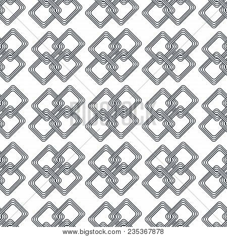 Vintage Black And White Seamless Pattern With Simple Geometric Shapes. Check Line Greed Background.