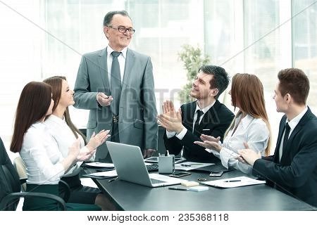 Business Team Applauding Leaders At The Meeting.photo With Copy Space