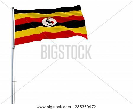 Isolate Flag Of Uganda On A Flagpole Fluttering In The Wind On A White Background, 3d Rendering
