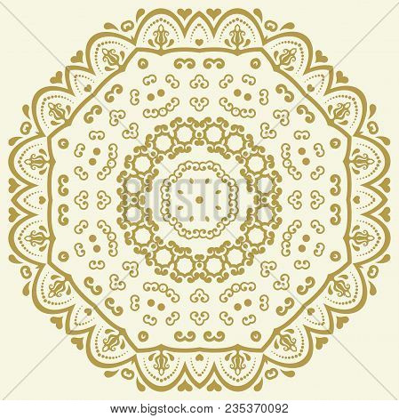 Oriental Vector Pattern With Golden Round Arabesques And Floral Elements. Traditional Classic Orname