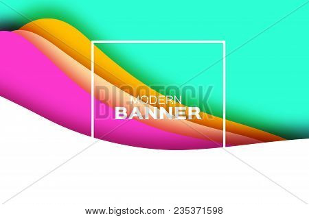 3d Abstract Background With Paper Cut Shapes. .layered Tunnel Landscape Wave Background. Modern Bann