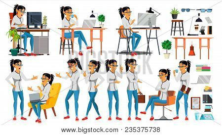 Business Woman Character Vector. Working Asian, Woman. Asiatic. Environment Process Creative Studio.