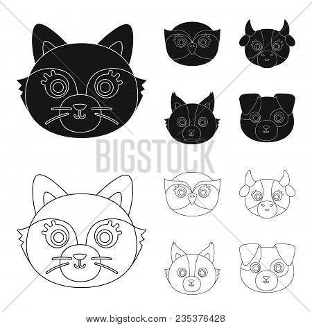 Owl, Cow, Wolf, Dog. Animal Muzzle Set Collection Icons In Black, Outline Style Vector Symbol Stock