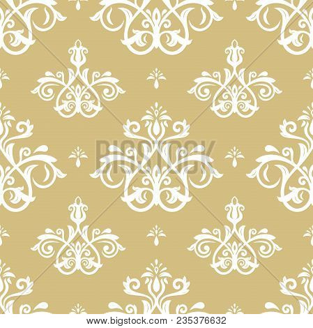 Classic Seamless Vector Pattern. Damask Orient Yellow And White Ornament. Classic Vintage Background