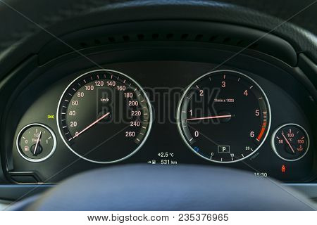 Car Interior Dashboard Details With Indication Lamps. Car Detailing. Car Instrument Panel. Dashboard