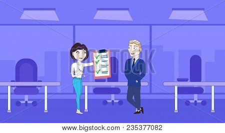 Successful Business Woman Showing Businessman Boss Done Checklist Flat Vector Illustration