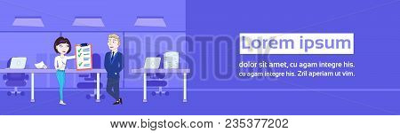Successful Business Woman Showing Businessman Boss Done Checklist Horizontal Banner Flat Vector Illu