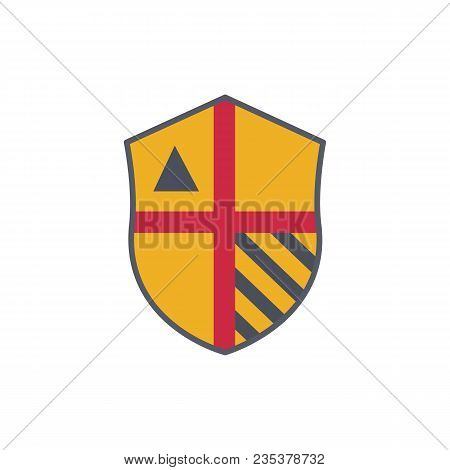 Medieval Warrior Coat Of Arms. Noble Shield Isolated On White Background Vector Illustration.