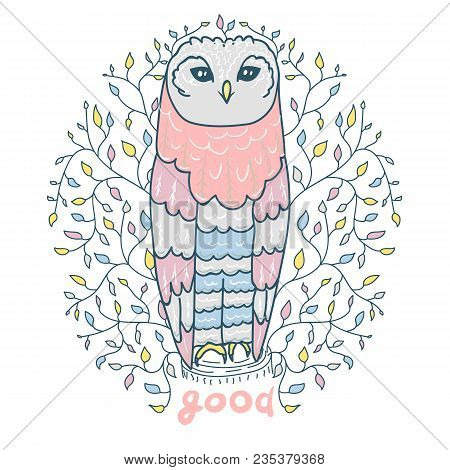 Cute Owl For A Nightie In A Plant Frame. Children S Vector Picture. New Arrival Card Baby Shower , I