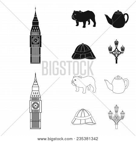 Breed Dog, Teapot, Brewer .england Country Set Collection Icons In Black, Outline Style Vector Symbo