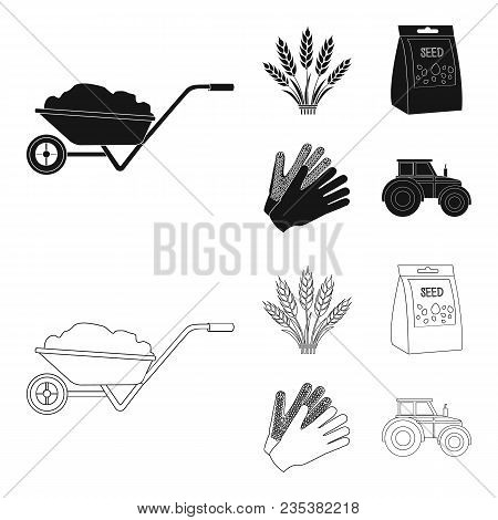 Spikelets Of Wheat, A Packet Of Seeds, A Tractor, Gloves.farm Set Collection Icons In Black, Outline