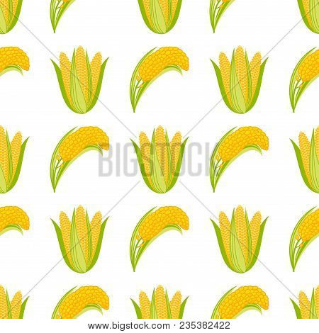 Corn Begetable Cobs Vector Illustration Seamless Pattern. Healthy Grain Maize Vegetable Cob Corn. Ye
