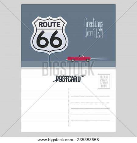 American Route 66 Vector Illustration. Design Element For Airmail Card Sent From Usa For Travel To A