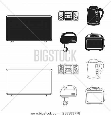 Electric Kettle, Music Center, Mixer, Toaster.household Set Collection Icons In Black, Outline Style