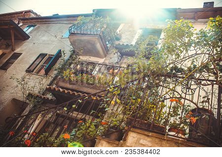 Old Pictorial Greek Streets, Courtyard With Old Buildings. Background