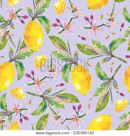 Lemons With Green Leaves, Lemon Slices, Lemon Seeds And Flowers. Seamless Pattern Branch Lemon Tree