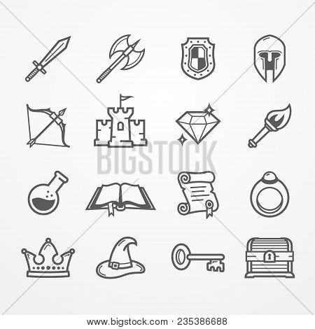 Set Of Fantasy Role Play Pc Game Icons In Line Style. Sword Battle Axe Shield Warrior Helmet Bow Cas