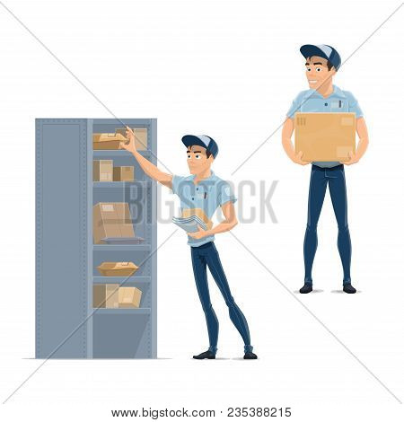 Postman With Letter And Box Cartoon Icon. Delivery Man In Blue Uniform Carrying Parcel, Young Mailma