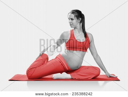 Pregnant Woman Doing Stretching Exercise During Workout, Isolated On White Background