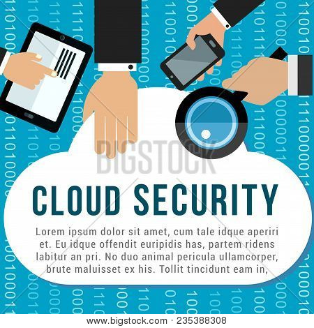 Cloud Security Poster For Cloud Computing And Data Storage Technology Design. Hand With Tablet Compu