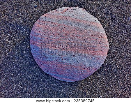 Big Striped Rock Stone & Sand Background Frame On Beach. Stone From Mars As Natural Rock Abstract Te